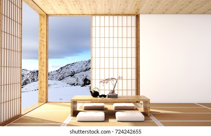 interior design,modern living room with table,wood floor,was designed specifically in Japanese style and snow mountain background, 3d illustration, 3d rendering