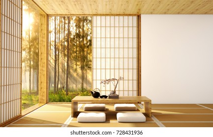 interior design,modern living room with table,wood floor,was designed specifically in Japanese style, 3d illustration, 3d rendering
