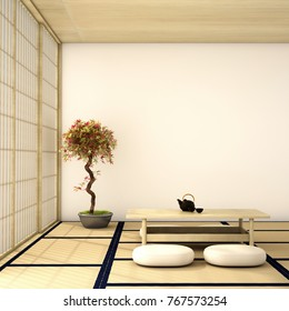 interior design,modern living room with table,wood floor and tatami mat and traditional japanese door on best window view ,was designed specifically in Japanese style, 3d illustration, 3d rendering