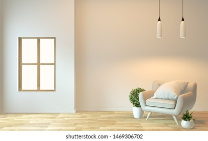 interior design,zen modern living with arm chair and decoration.3D rendering