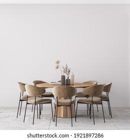 Interior Dining Room Wall Mockup - 3d Rendering, 3d Illustration