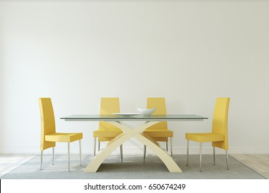 Interior of dining-room. Interior mockup. 3d render.