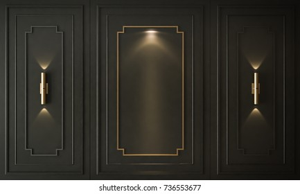 Interior of empty with black panels on wall, classic room, 3D render 3D illustration
