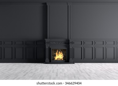Interior of empty classic room with fireplace over black panels wall 3d rendering
