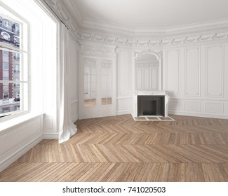 Interior of an empty elegant residential room with white walls, brown parquetry and a modern fireplace. 3d rendering