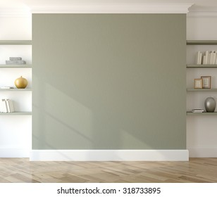 Interior with empty green wall and shelves. 3d render.