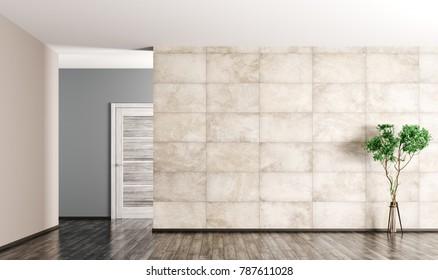 Interior of empty  living room, wooden door,plant and concrete tiled wall 3d rendering