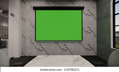 Interior Empty Modern Loft Office open space modern office footage.Modern open concept Lobby and reception area meeting room design.3d Rendering .green screen on the wall.