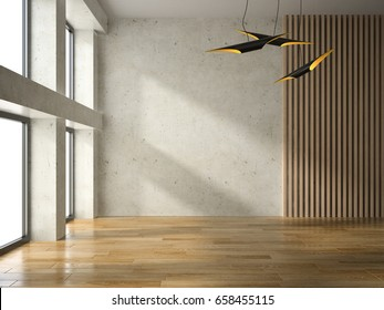 Interior of empty room 3D rendering