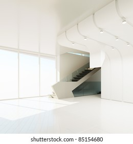 The interior of an empty room, 3D rendering