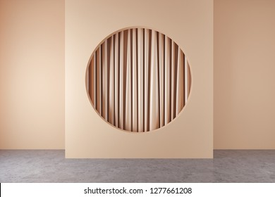 Interior of empty room with concrete floor and beige wall with round niche with beige curtain hanging inside. Concept of interior design. 3d rendering mock up