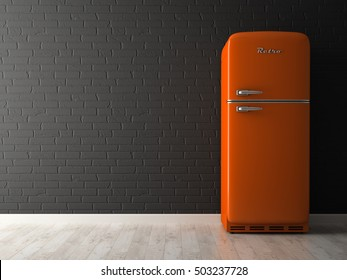 Interior of empty room with fridge 3D rendering