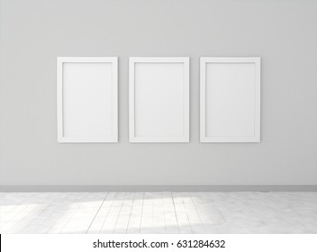 Interior empty room with three empty white picture frames on dark wall. Mock-up template for display, products, title or logo. Studio or blank office space. 3d illustration