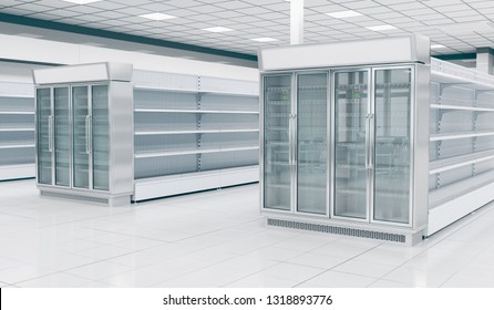 Interior empty supermarket with  showcases freezer. 3d illustration