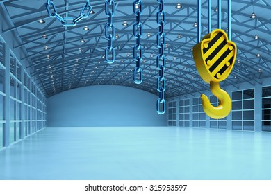 Interior of an empty warehouse building, cargo shipment industry concept, modern storehouse office with crane hook and chains in blue light