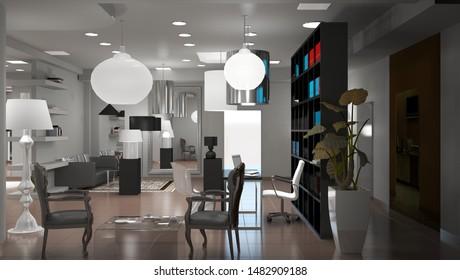 interior, exhibition hall, 3D illustration