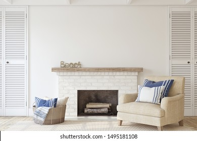 Interior with fireplace in coastal style. Interior mockup. 3d render.