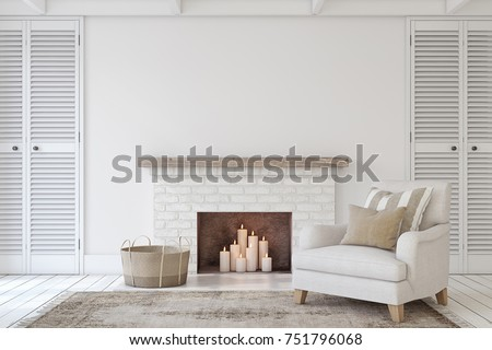 Interior With Fireplace In Farmhouse Style. Interior Mock Up. 3d Render.