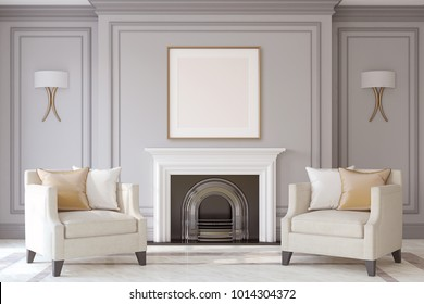 Interior with fireplace in neoclassic style. Frame mock-up. 3d render.