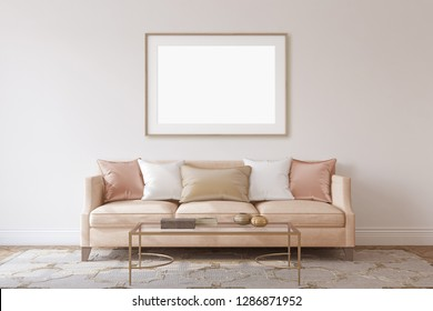Interior and frame mockup. Living-room in neoclassical style. 3d rendering.