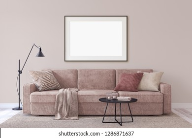 Interior and frame mockup. Modern couch near empty wall. 3d render.