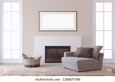 Interior and frame mockup. Modern fireplace with arnchair. 3d rendering.