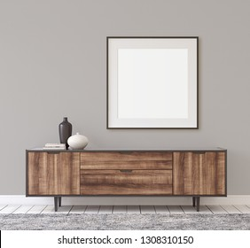 Interior and frame mockup. Modern hallway. Black square frame on the gray wall. 3d rendering.