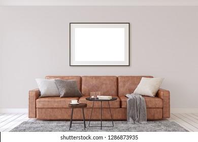 Interior and frame mockup. Modern living-room. 3d rendering.