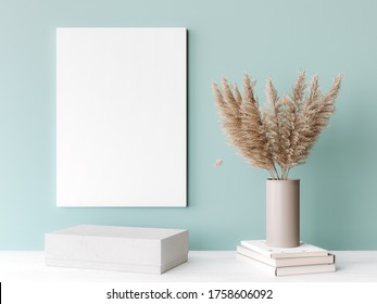 Interior frame mockup with vertical white wooden canvas on green wall decorated with dried pampas beige vase. A4, A3 size. 3D rendering, 3D illustration
