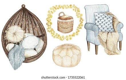 interior of furniture and home decorations. Cozy living room in hygge style. watercolor illustration.