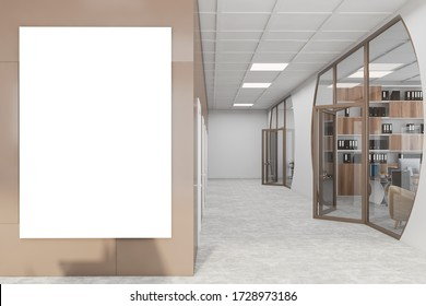 Interior of futuristic office lobby with white and brown walls, concrete floor, big vertical mock up poster and open glass doors. 3d rendering