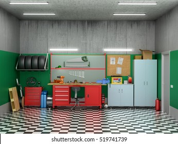 Interior garage with car parts and tools. 3D illustration