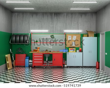 Interior Garage Car Parts Tools 3 D Stock Illustration 519741739