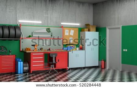Interior Garage Car Parts Tools 3 D Stock Illustration 520284448