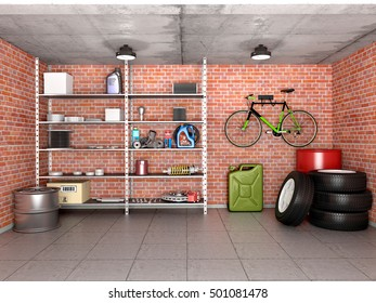 Interior garage with tools, equipment and wheels. 3d illustration.