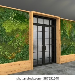 Interior with a glass entrance door and green wall with vertical gardening. Style loft. 3D visualization.