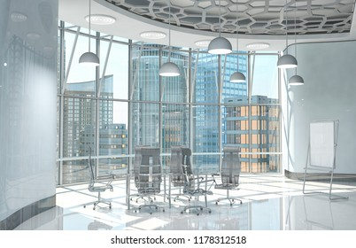 Interior of the hall with large windows and a glass meeting table and armchairs. 3d illustration.