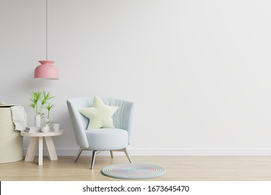 The interior has a armchair on empty white wall background,3D rendering