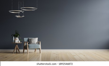 The interior has a dark blue armchair on empty dark wall background,3D rendering