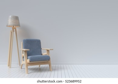 The interior has a sofa and lamp on empty white wall background,3D rendering