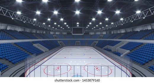 Interior hockey stadium with blue seats. 3d illustration