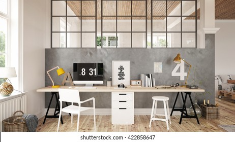 Interior of a home office - 3 D render