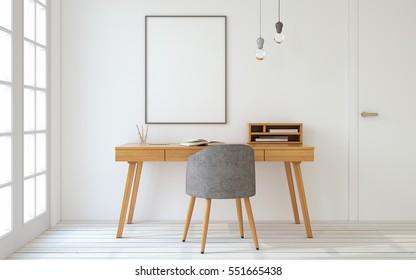 Interior de la oficina en casa al estilo escandinavo. Interior de maqueta con afiche. 3d de representación.