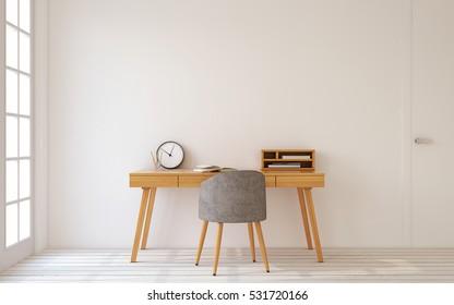 Interior de la oficina en casa al estilo escandinavo. 3d de representación.