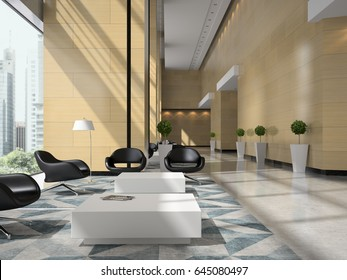 Interior of a hotel reception 3D illustration