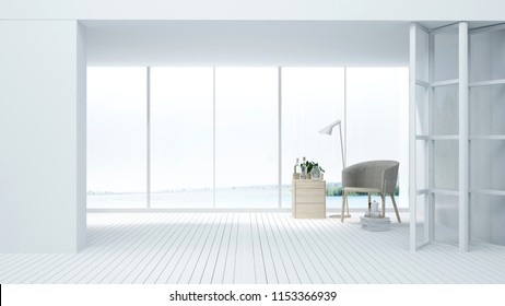 Interior hotel relax space 3d rendering - nature view background