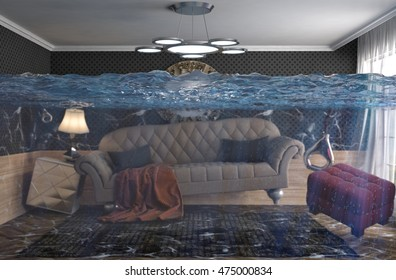 interior of the house flooded with water. 3d illustration