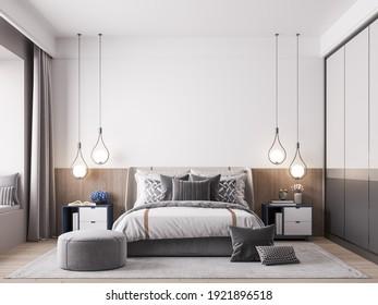 Interior Kids Bedroom Wallpaper Mockup - 3d Rendering, 3d Illustration
