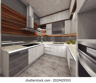 interior kitchen design in retro style with wooden counter cabinet. 3d rendering, 3d illustration.