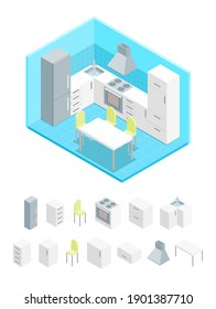 Interior Kitchen with Furniture and Elements Part Isometric View Domestic Room with Table, Stove, Chairs and Fridge. illustration of Concept Cooking